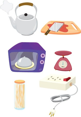 electric kettle: illustration of various objects on white