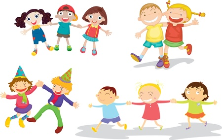 happy kids playing: illustration of kids on white Illustration