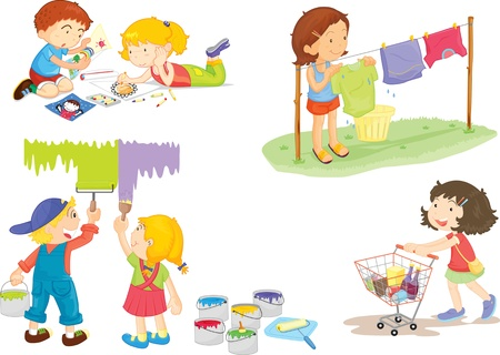 niños pintando: ilustración de los niños en blanco