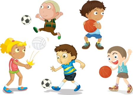 throwing ball: illustration of kids on white Illustration