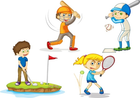 cricket: illustration of kids on white Illustration