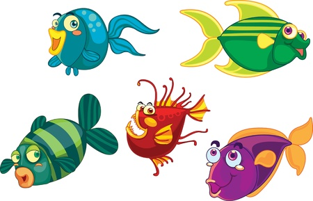 illustration of various fishes on white Vector