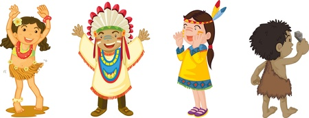 red indian: illustration of kids on white Illustration