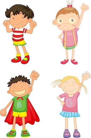 illustration of kids on white Illustration