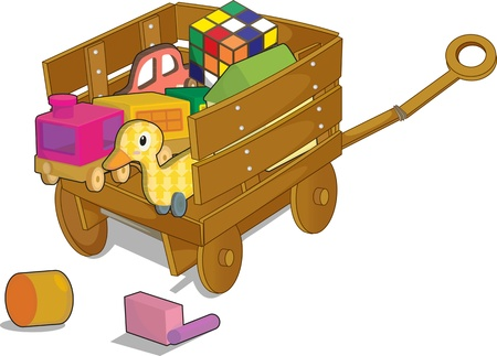 plastic toys: illustration of trolley on white Illustration