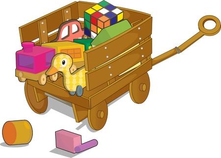 pull toy: ilustración de la mesa con blanco Vectores