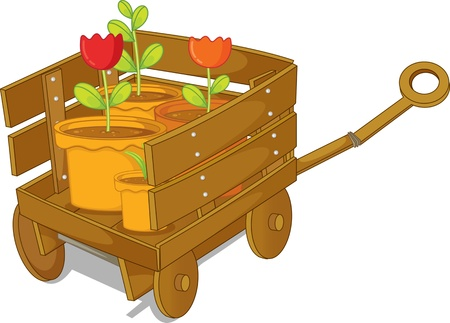 illustration of trolley on white Vector