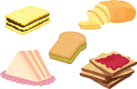 jam sandwich: illustration of various food items on white Illustration