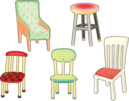 stools: illustration of chairs on white