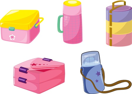 illustration of various tiffins on white Vector