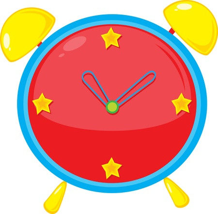 cartoon clock: illustration of clock on white Illustration