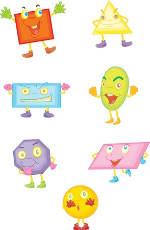 shapes cartoon: illustration of various shapes on white Illustration