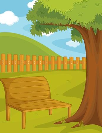 garden bench: Illustration of  a bench on white