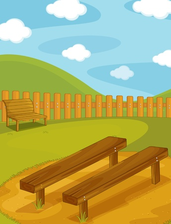 garden bench: Illustration of  a bench on white