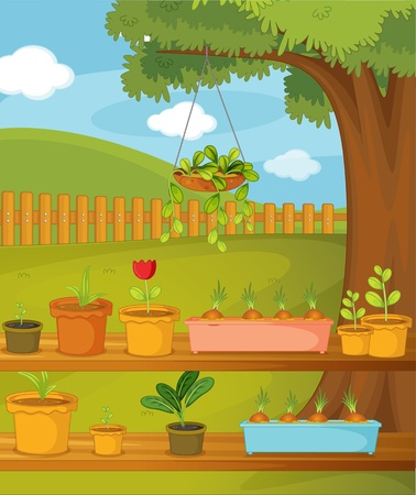 plant stand: Illustration of  a pots in garden Illustration