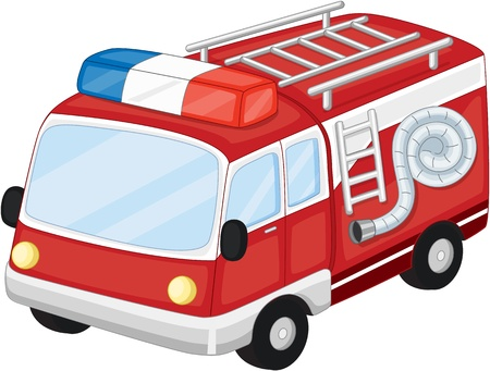 colourful fire: Illustration of  a cartoon vehicle on white