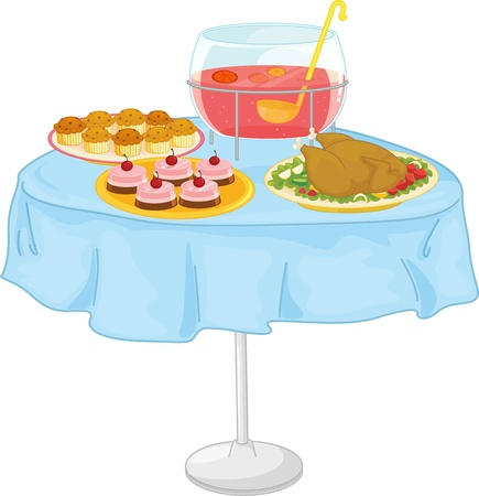 dinning table: Illustration of  a food on white Illustration