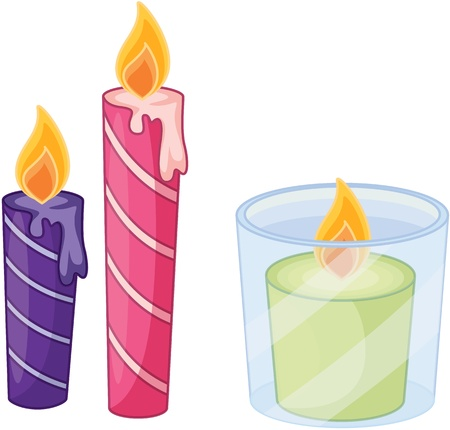 light source: illustration of candles on white