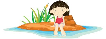Illustration of  a girl sitting on island illustration
