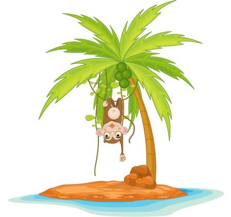 Illustration of  a monkey on island  illustration