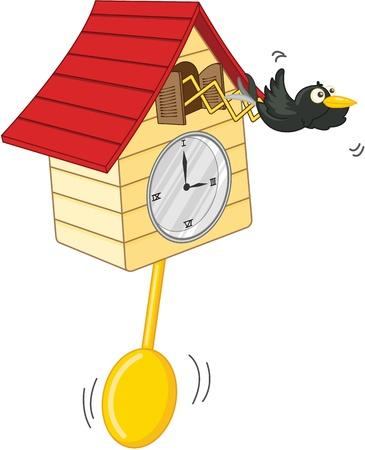 reloj de pendulo: ilustraci�n de reloj en blanco Foto de archivo