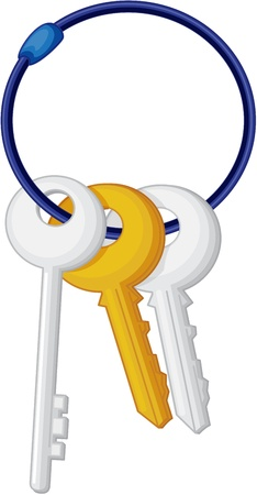 key ring: illustration of keys on white Stock Photo