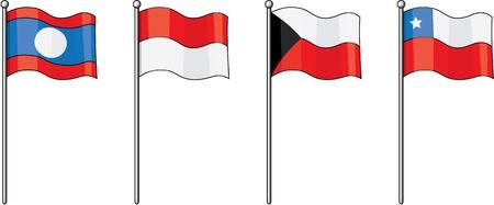 illustration of various flags on white illustration