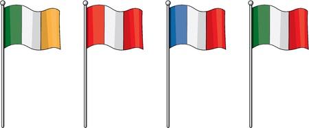 bandera de peru: ilustración de varias banderas en blanco