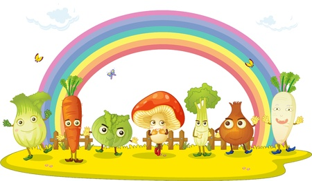 mushroom cloud: illustration of vegetables on rainbow background Illustration