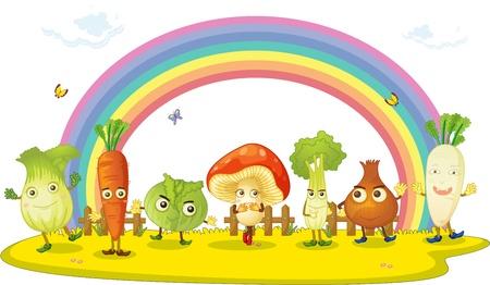 carrot tree: illustration of vegetables on rainbow background Illustration