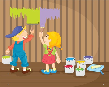 illustration of kids painting the wall Stock Vector - 13121378