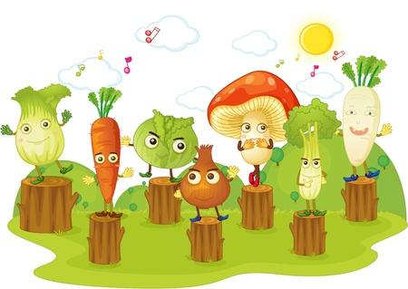 carrot tree: illustration of vegetables on white Illustration