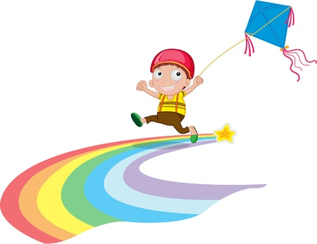 illustration of boy on white Vector