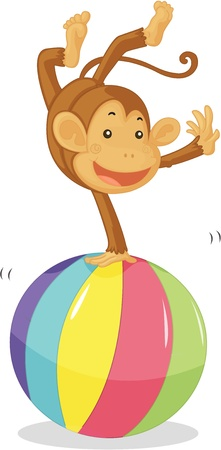 jumping monkeys: illustration of monkey on white
