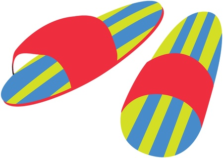 wooden shoes: illustration of slippers on white