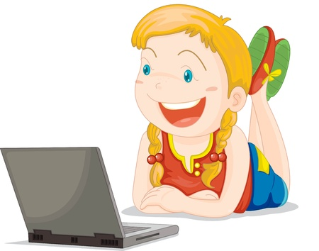 girl laptop: Illustration of  a girl on white Illustration