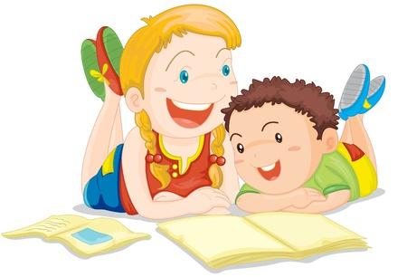 mujer hijos: Ilustración de una niña y un niño en blanco Vectores