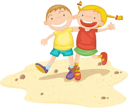 two girls: Illustration of  a two kids on white