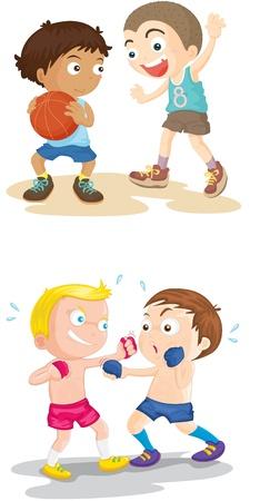 peleando: Ilustraci�n de un cuatro ni�os en blanco