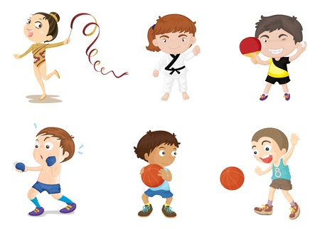 sport cartoon: Illustration of  a kids on white Illustration