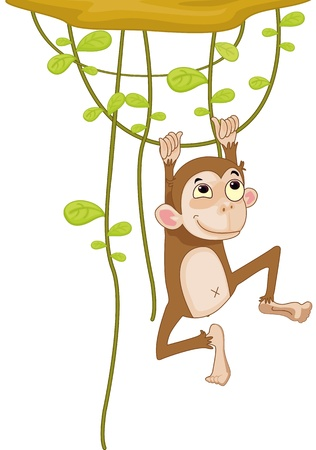 Illustration of a monkey on a vine