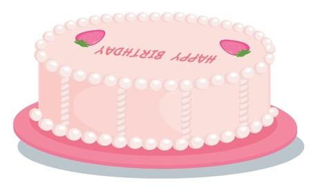 cartoon birthday cake: Illustration of  a cake on white Illustration