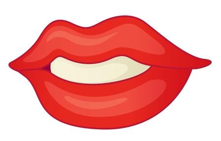 口: 白の唇のイラスト