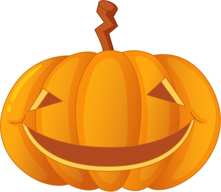 carved pumpkin: illustration of carved pumpkin on white