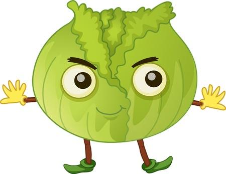 cabbage: illustratie van plantaardige witte Stock Illustratie