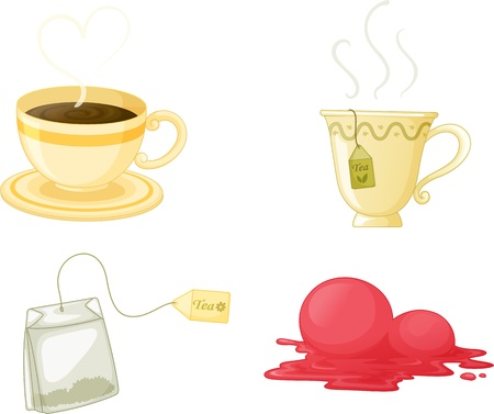 teacup: illustration of various objects on white