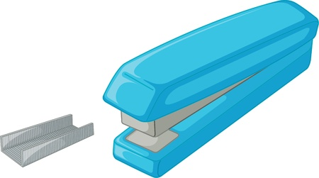 staplers: illustration of stapler and pins on white