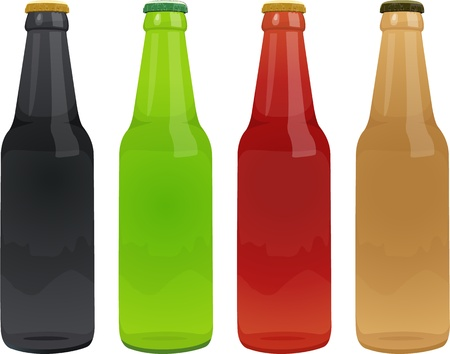 illustration of bottles on white Vector