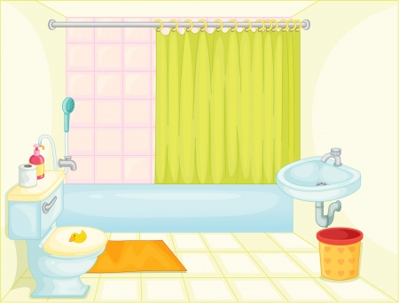 illustration of bathroom on white Vector