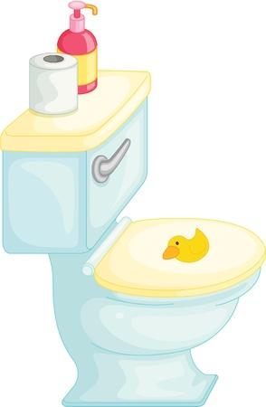 flush: illustration of flush toilet on white Illustration